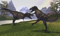 Two Tyrannosaurus Rex dinosaurs fight for the right of a territory by Corey Ford - various sizes