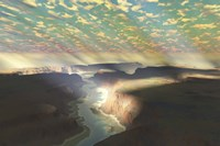 Sunrays shine down on mist over a canyon river in a desert wilderness by Corey Ford - various sizes