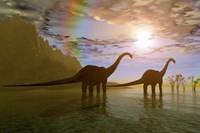 Two Diplodocus dinosaurs wade through shallow water to eat some vegetation by Corey Ford - various sizes - $47.49