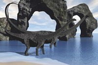 Diplodocus dinosaurs wade through shallow waters of a beautiful seashore by Corey Ford - various sizes, FulcrumGallery.com brand