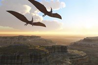 Two Pterodactyl flying dinosaurs soar above a beautiful canyon Fine Art Print