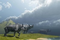 A herd of Brontotherium dinosaurs come to the lake to drink by Corey Ford - various sizes