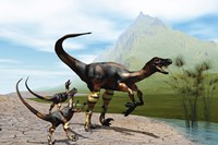 Velociraptor offspring beg mother dinosaur for food near a pond by Corey Ford - various sizes