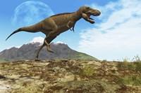 A Tyrannosaurus Rex dinosaur walks through his territory by Corey Ford - various sizes - $47.49