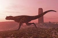 Carnotaurus running in the early morning light on desert terrain Fine Art Print