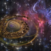 Large rocks swirl around and form a planet in the cosmos by Corey Ford - various sizes