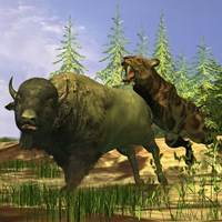 A Saber-Tooth cat pounces onto a frightened Buffalo by Corey Ford - various sizes