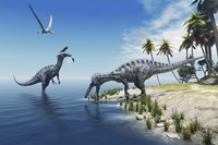 Suchomimus dinosaurs feed on fish on the shoreline by Corey Ford - various sizes