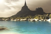 A mountain spire overlooking the turquoise waters of a sea inlet by Corey Ford - various sizes
