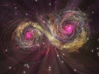 Two large stars dance around each other as one engulfs the other by Corey Ford - various sizes