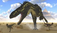 A gigantic Torvosaurus chasing two Dilophosaurus by Corey Ford - various sizes, FulcrumGallery.com brand