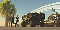 Two Special Forces personnel draw their guns on a distant planet by Corey Ford - various sizes