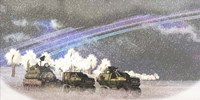 A military convoy in a sever winter storm on an alien planet by Corey Ford - various sizes, FulcrumGallery.com brand