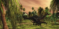 An Apatosaurus mother escorts her hatchling baby by Corey Ford - various sizes - $47.99
