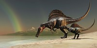 A mother Spinosaurus brings her offspring to a lake for a drink of water by Corey Ford - various sizes