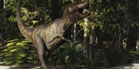A mighty Tyrannosaurus Rex hunts for prey in a dense jungle by Corey Ford - various sizes
