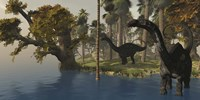 Two Apatosaurus dinosaurs visit an island in prehistoric times Fine Art Print