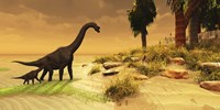 A mother Brachiosaurus Dinosaur and her offspring Fine Art Print