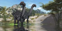 Two Apatosaurus dinosaur wade through a lush pond by Corey Ford - various sizes