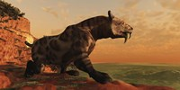 A prehistoric Smilodon Cat is on the prowl for his next prey by Corey Ford - various sizes