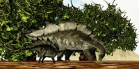 A Stegosaurus baby looks to its mother for guidance by Corey Ford - various sizes