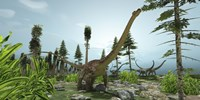 A herd of Diplodocus dinosaurs graze on trees by Corey Ford - various sizes