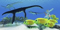 A school of Lemonpeel Angelfish swim by Plesiosaurus dinosaurs by Corey Ford - various sizes