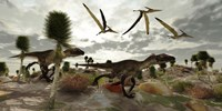 Two Utahraptors hunt for prey as pterosaurs fly above by Corey Ford - various sizes