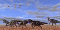 A herd of Parasaurolophus dinosaurs by Corey Ford - various sizes