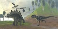 An Allosaurus attacks an unaware Stegosaurus dinosaur by Corey Ford - various sizes - $47.99