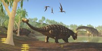 Ankylosaurus dinosaurs drink from a swamp along with an Argentinosaurus by Corey Ford - various sizes
