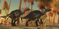 Camptosaurus dinosaurs wander through a prehistoric jungle by Corey Ford - various sizes