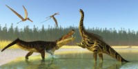 A Kaprosuchus reptile confronts an Agustinia dinosaur by Corey Ford - various sizes
