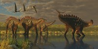 A Miragaia dinosaur bellows in protest as others try to join him in the marsh by Corey Ford - various sizes