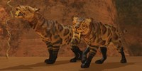 Two Smilodon cats find protection in a vast cave system by Corey Ford - various sizes