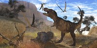 Tyrannosaurus Rex attempts to eat his Triceratops kill while Pteranodons harass him by Corey Ford - various sizes