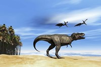 Pterodactyls fly over a beastly Tyrannosaurus Rex Fine Art Print