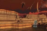 Pteranodon dinosaurs in a prehistoric landscape Fine Art Print