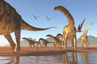 Two Deinocheirus move along with a herd of Argentinosaurus by Corey Ford - various sizes - $47.99