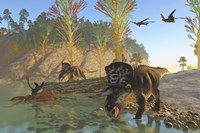 Zuniceratops dinosaurs drinking water from a river by Corey Ford - various sizes