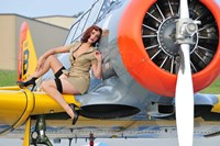 1940's style pin-up girl posing on a T-6 aircraft Fine Art Print