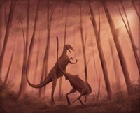 Two Bicentenaria argentina dinosaurs fighting in the woods Fine Art Print