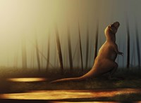 Tyrannosaurus rex sunbathing after the rain Fine Art Print