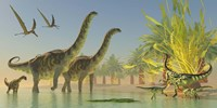 Deinocheirus dinosaurs watch a group of Argentinosaurus walk through shallow waters by Corey Ford - various sizes, FulcrumGallery.com brand