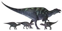 Maiasaura dinosaur with offspring by Corey Ford - various sizes