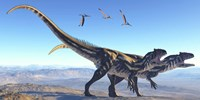 Two Allosaurus dinosaurs look for prey on a high mountain by Corey Ford - various sizes