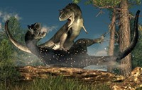 A couple of Carnotaurus dinosaurs fighting Fine Art Print