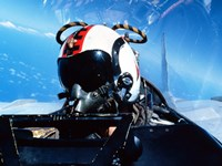 A pilot sitting in the back of a two-seater F-14 Tomcat Fine Art Print