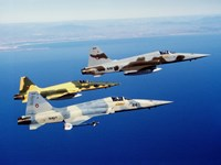 Three F-5E Tiger II fighter aircraft in flight Fine Art Print