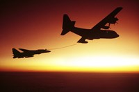 US Navy F-14A Tomcat aerial refueling from a KC-130 Hercules Fine Art Print